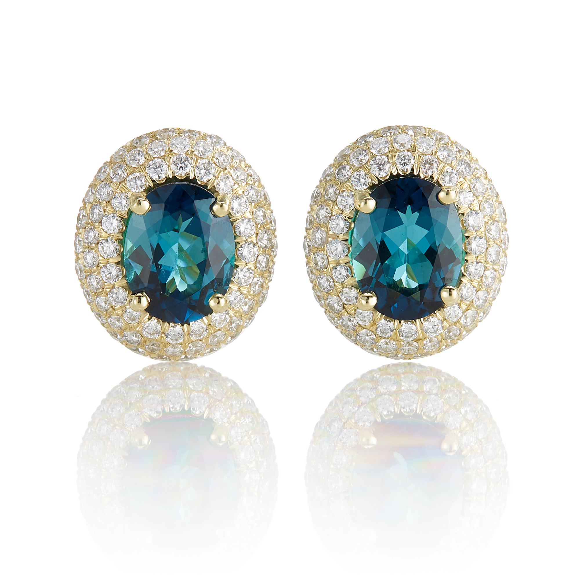 Gump's Oval Faceted Indicolite Tourmaline with Triple Halo of Diamond Earrings