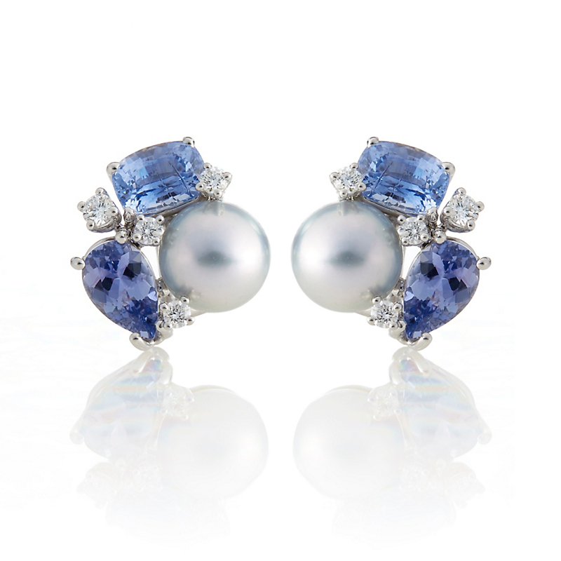 Gump's Pale Grey Tahitian Pearl with Diamonds & Sapphires Earrings