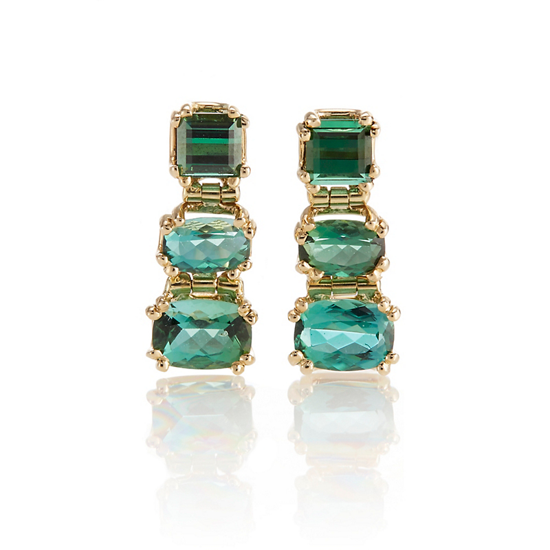 Gump's Trio of Graduated Green Tourmaline Earrings