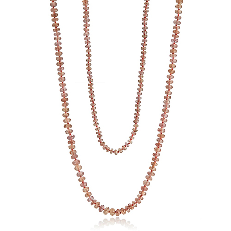 Gump's Graduated Garnet Long Necklace