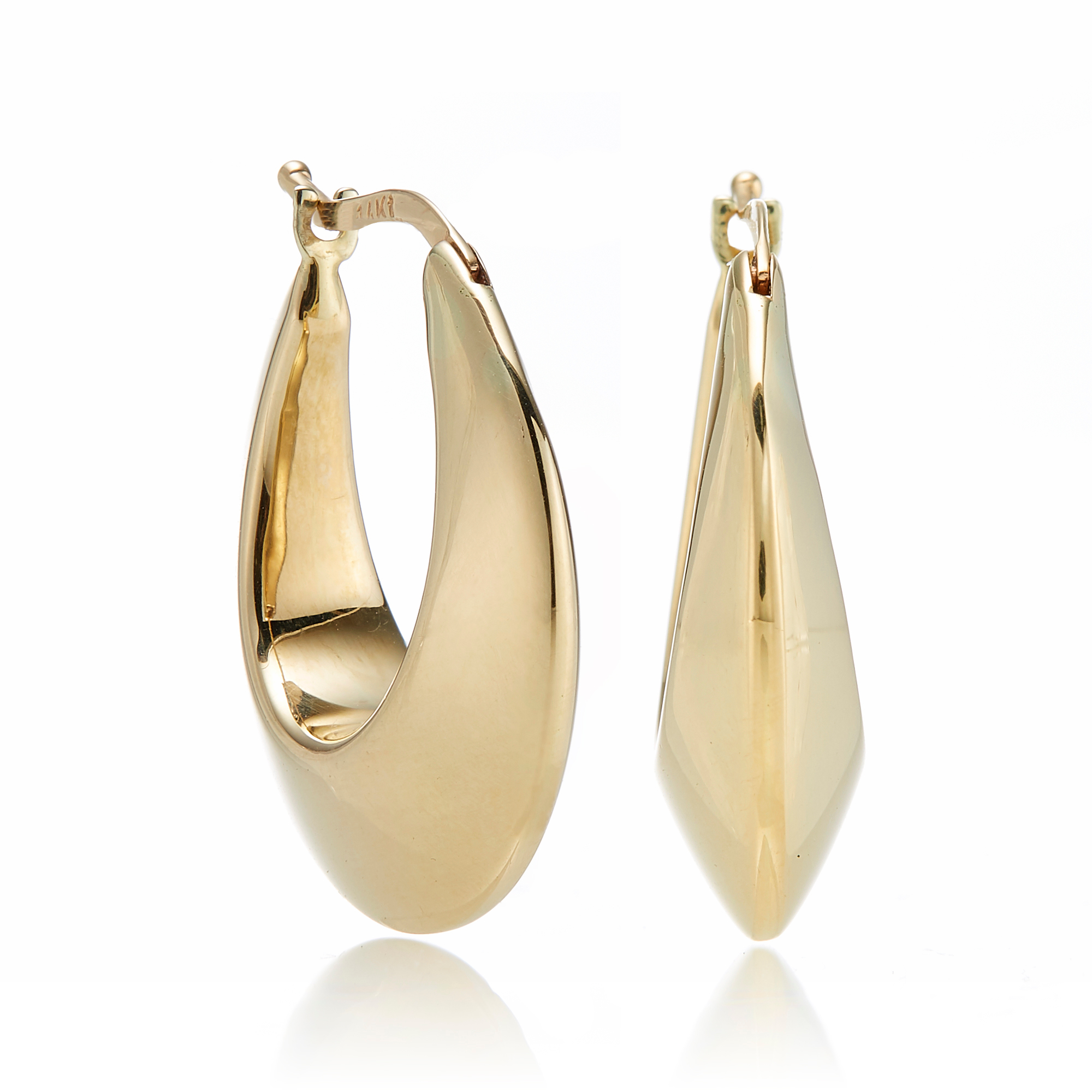 Round Graduated Gold Hoop Earrings
