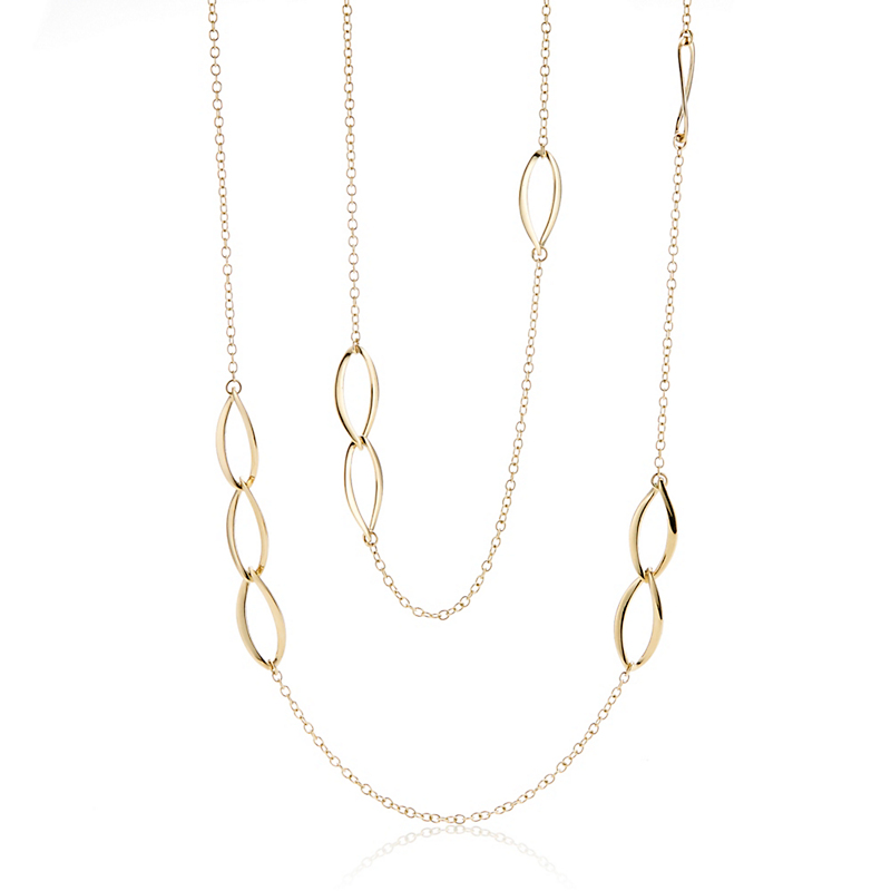 Twist Marquise Long Gold Link Necklace