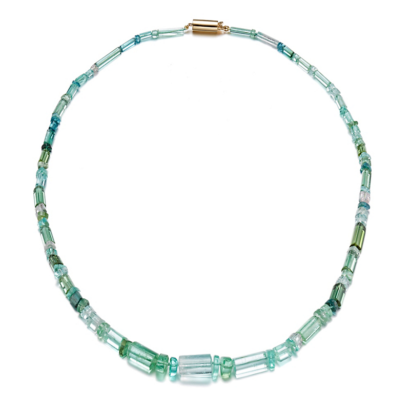 Gump's Faceted Tourmaline Beads with Round Tube Gold Clasp Necklace