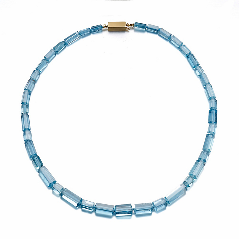 Gump's Faceted Aquamarine Beads with Rectangular Gold Clasp Necklace