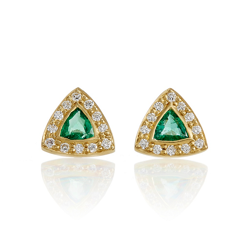 Kothari Triangular Emeralds with Halo of Diamonds Studs