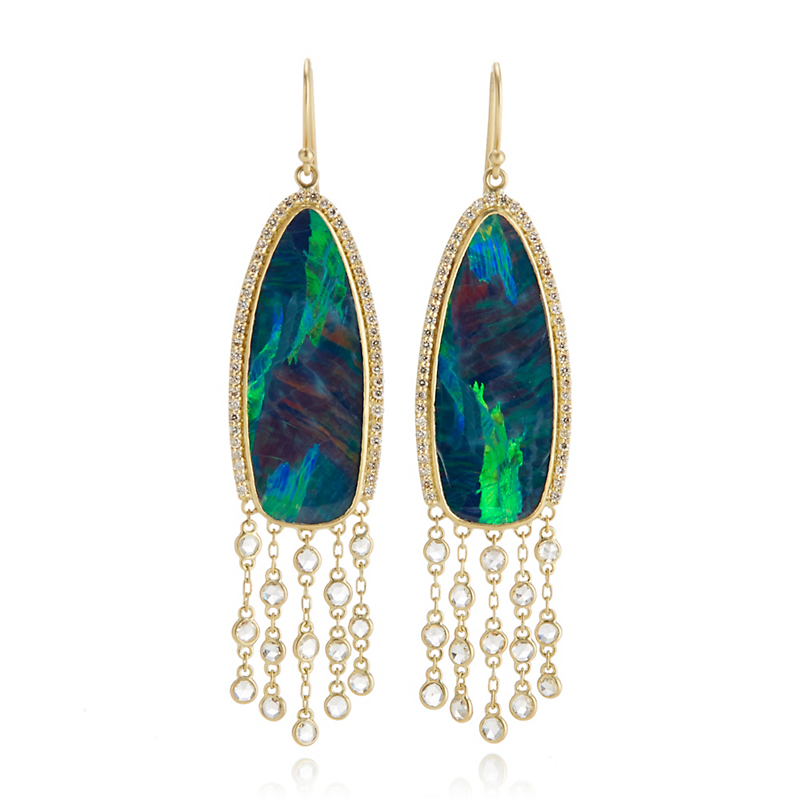 Kothari Aurora Borealis Opal & Diamond Halo Fringe Earrings