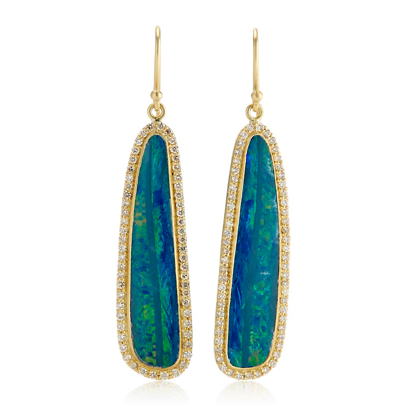 Kothari Boulder Opal Sticks with Diamond Halo Drop Earrings