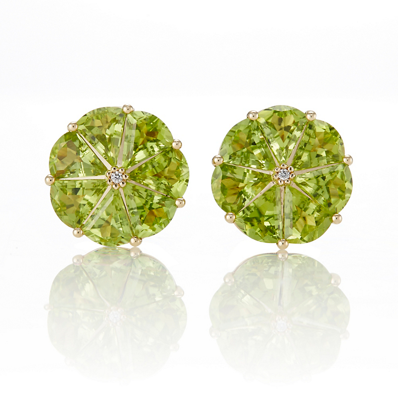 Gump's Peridot Round Pinwheel Earrings
