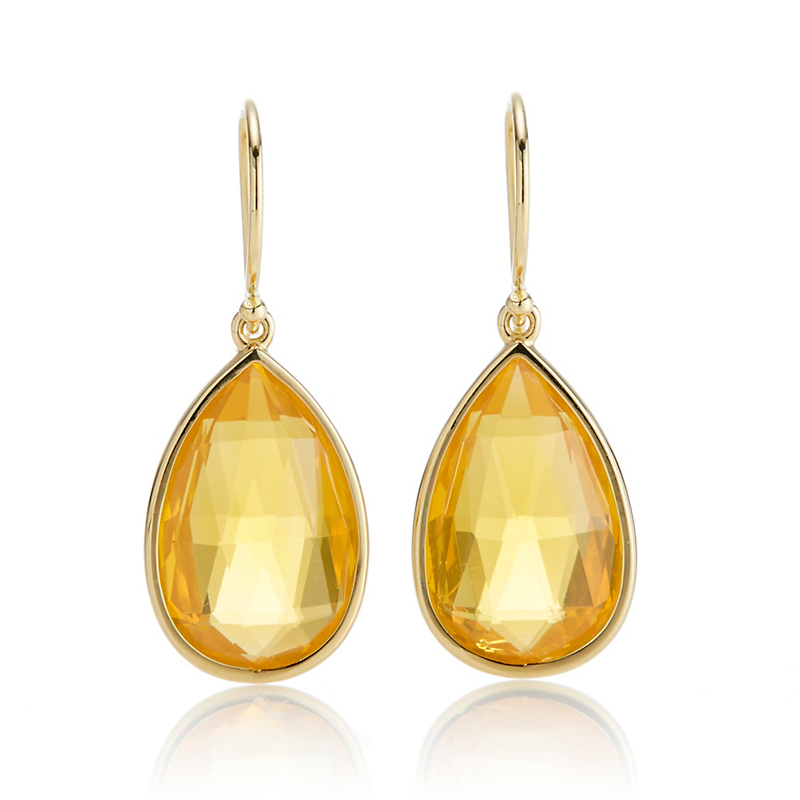 Gump's Faceted Briolette Fire Opal Teardrop Earrings