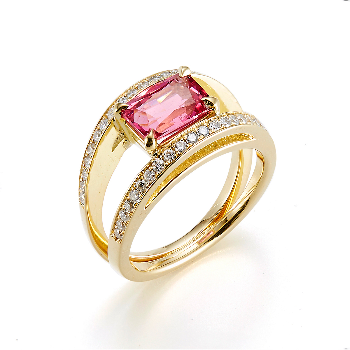 Gump's Diamond Double Open Split Shank & Pink Spinel Ring