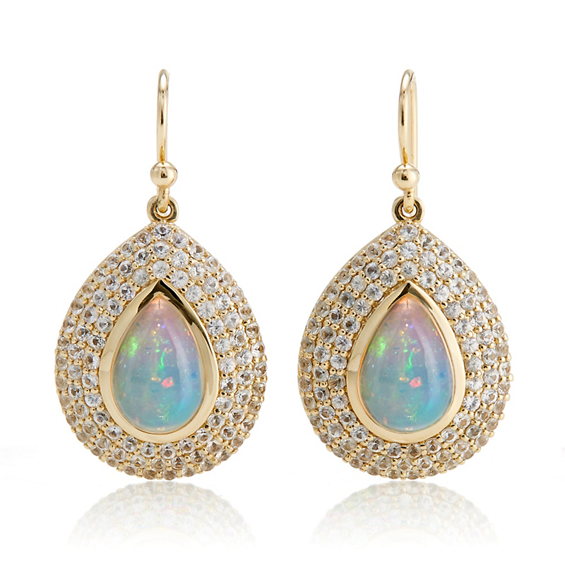 Gump's Teardrop Opal Cabochon & Three-Row Sapphire Drop Earrings