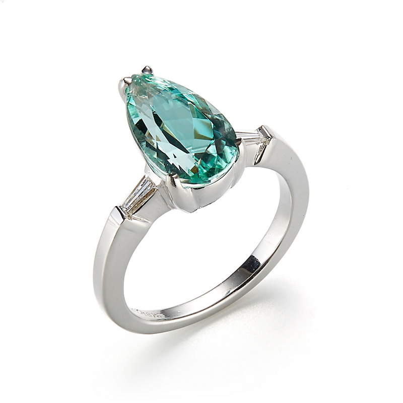 Gump's Blue Green Faceted Tourmaline & Diamond Ring
