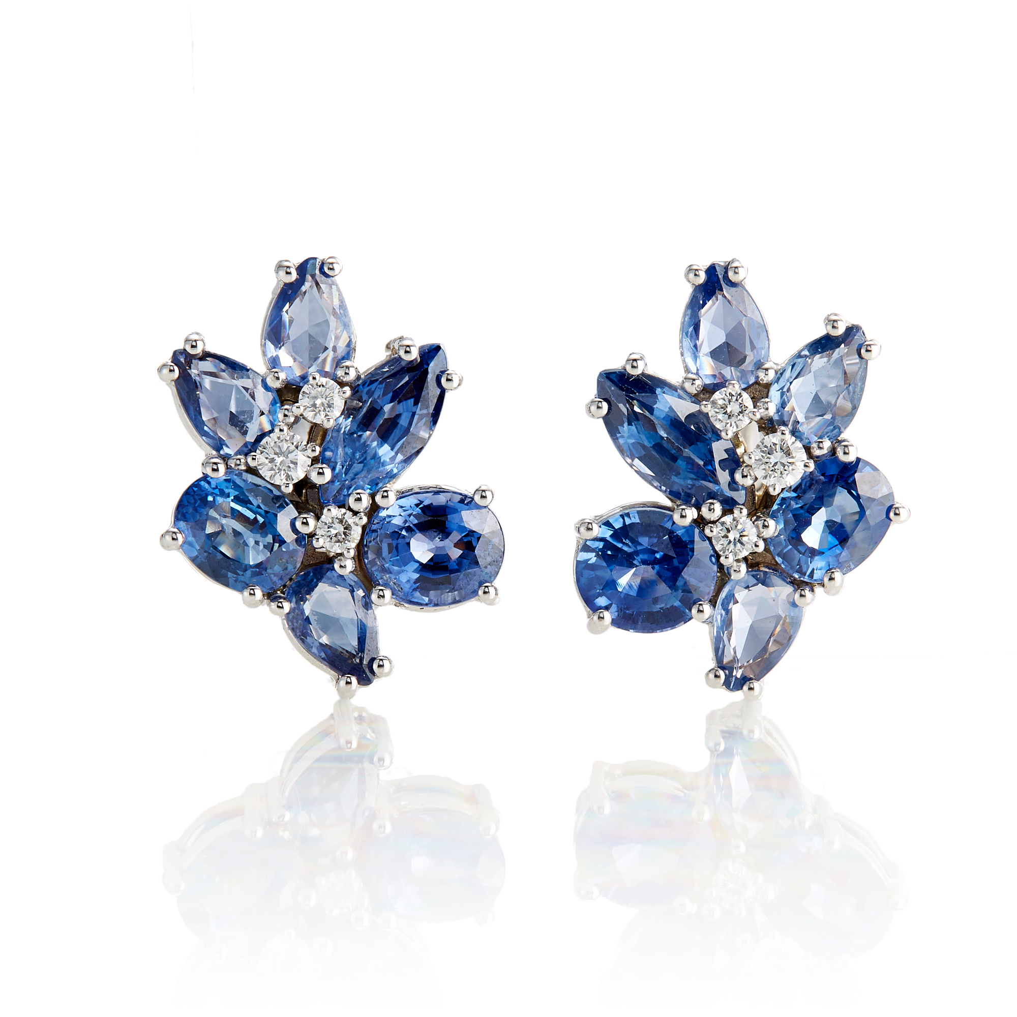 Gump's Sapphire & Diamond Floral Cluster Earrings