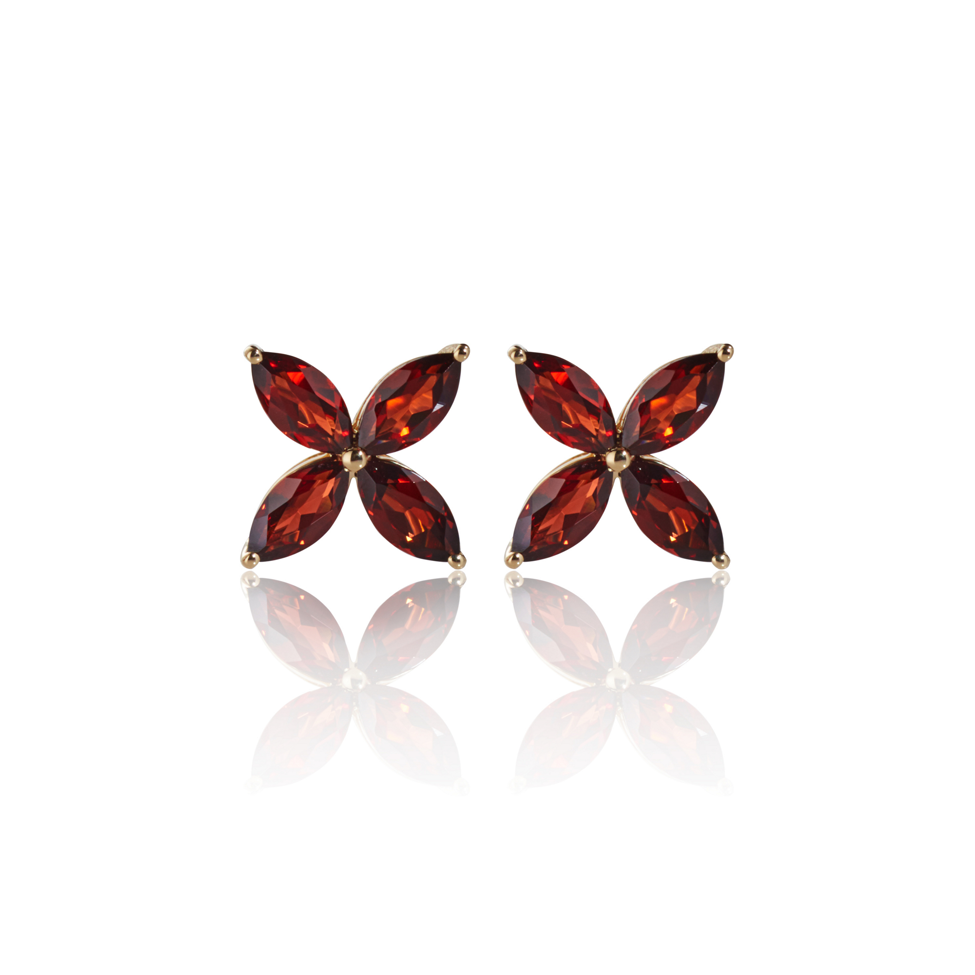 Gump's Mozambique Garnet Flower Stud Earrings