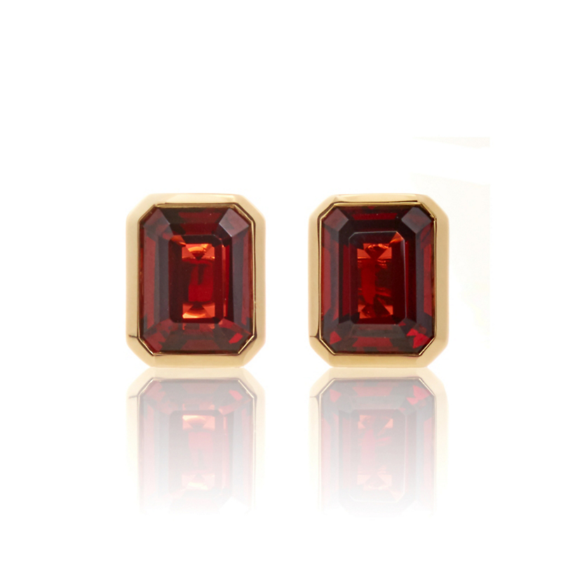 Gump's Mozambique Garnet Rectangle Stud Earrings