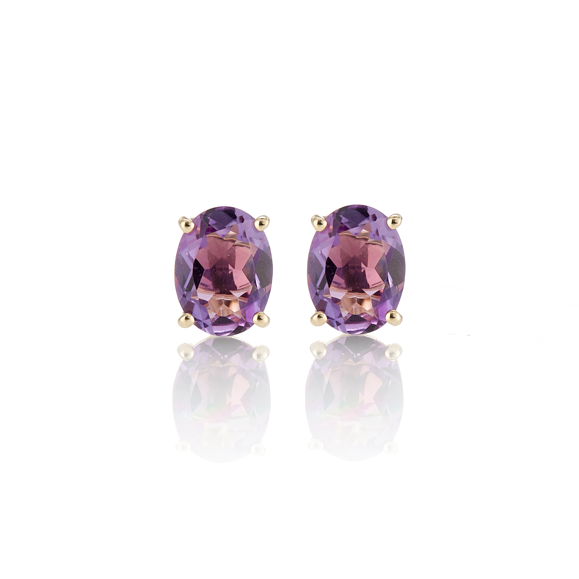 Gumps Faceted Oval Amethyst Stud Earrings