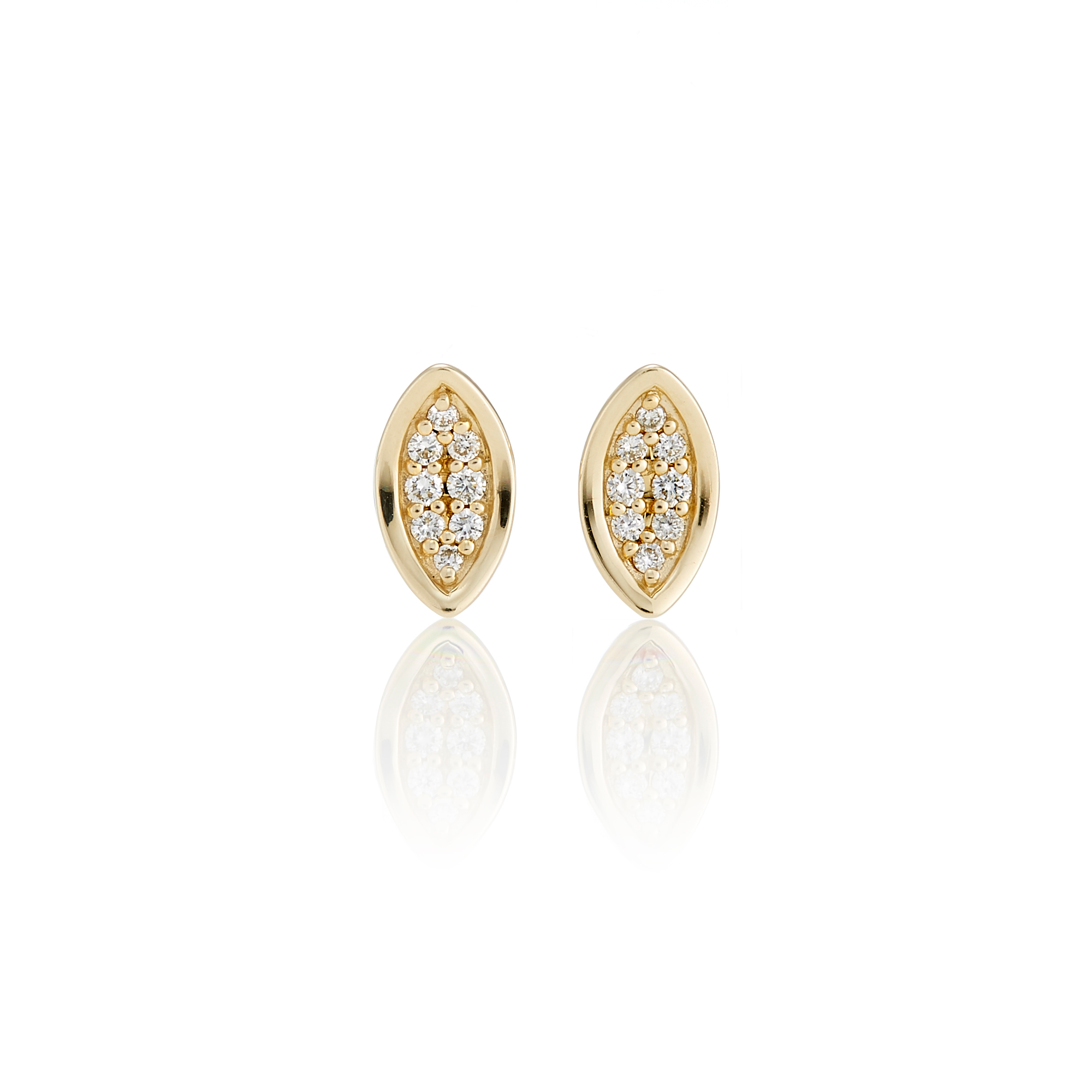 Gump's Concave Gold Diamond Marquise Stud Earrings