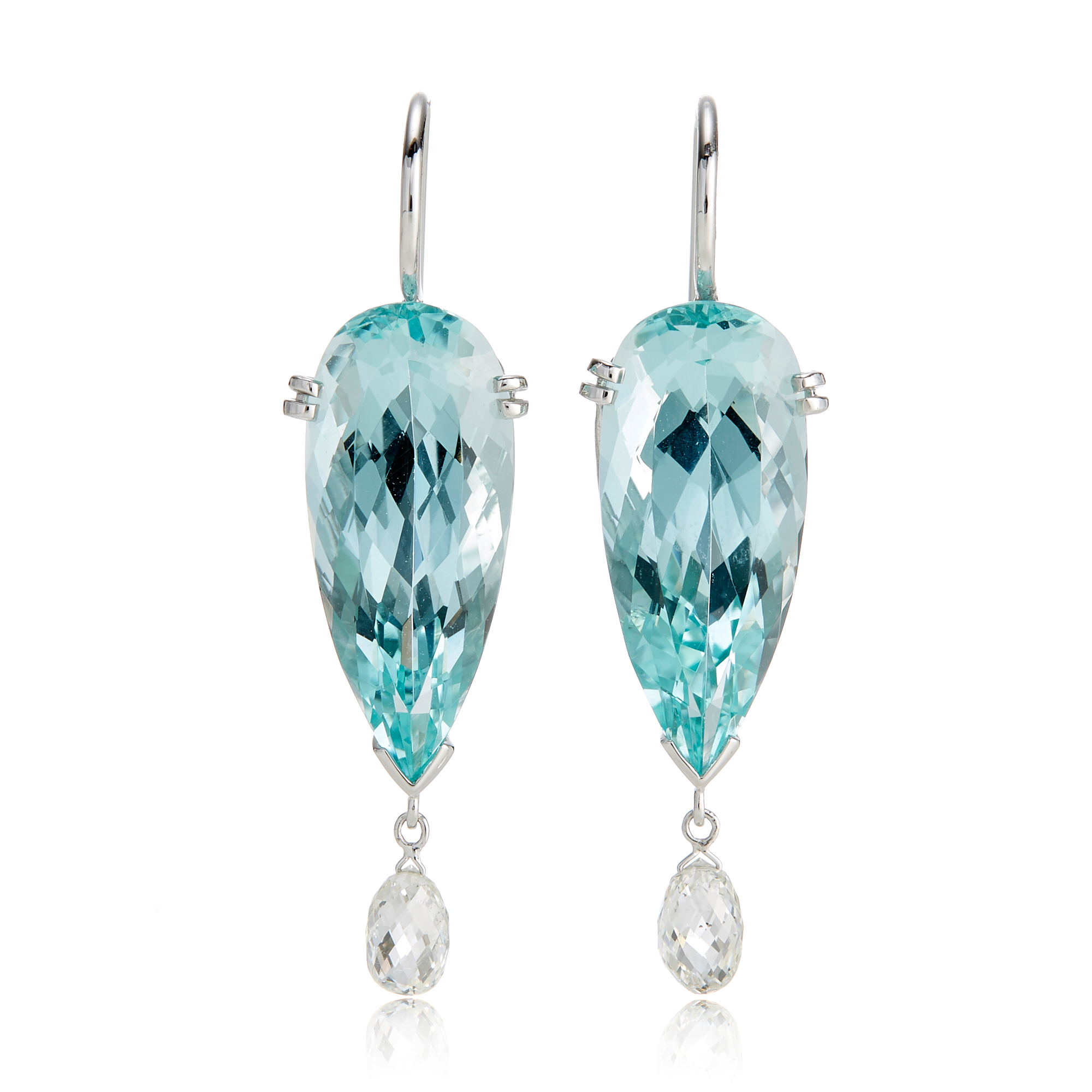 Gump's Faceted Aquamarine & Diamond Briolette Earrings