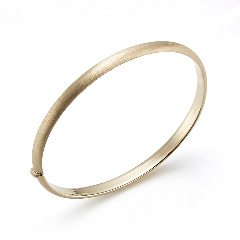 Thin Yellow Gold Brushed Hinged Bangle