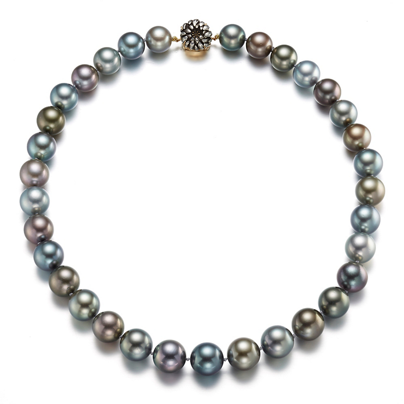 Gump's Multi-Color Tahitian Pearls with Chrysanthemum Flower Obidome Clasp Necklace