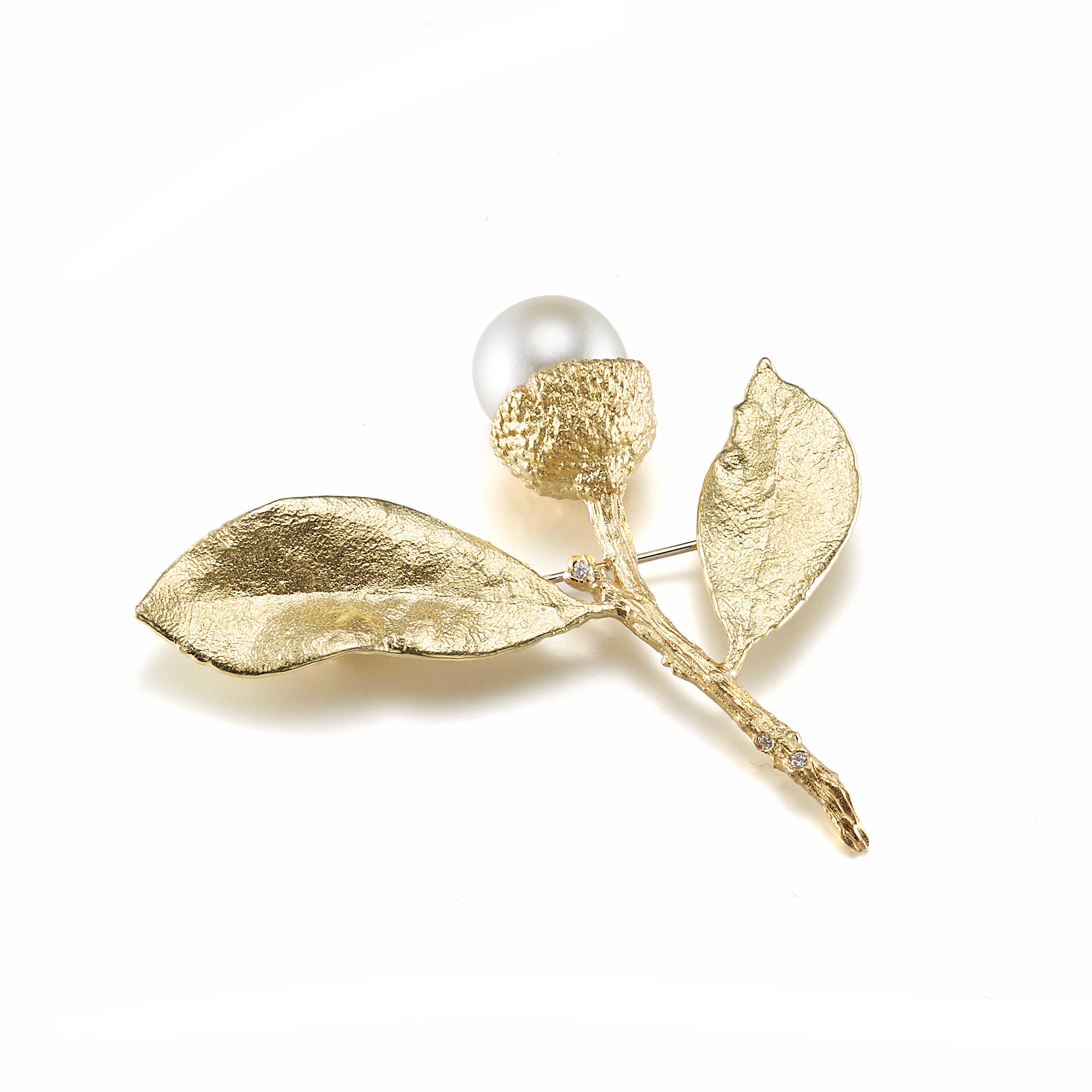 Aaron Henry South Sea Pearl & Diamond Acorn Leaf Brooch