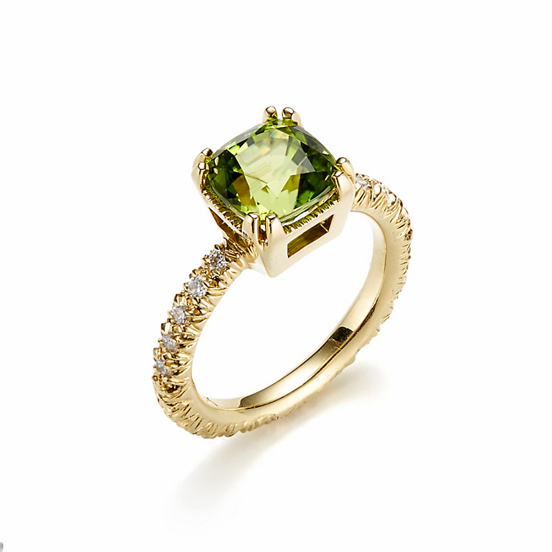 Aaron Henry Four Double Prong Peridot & Diamond Ring