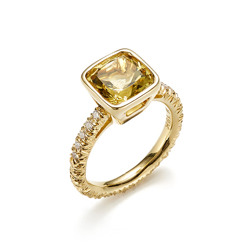 Aaron Henry Bezel Set Yellow Beryl & Diamond Ring