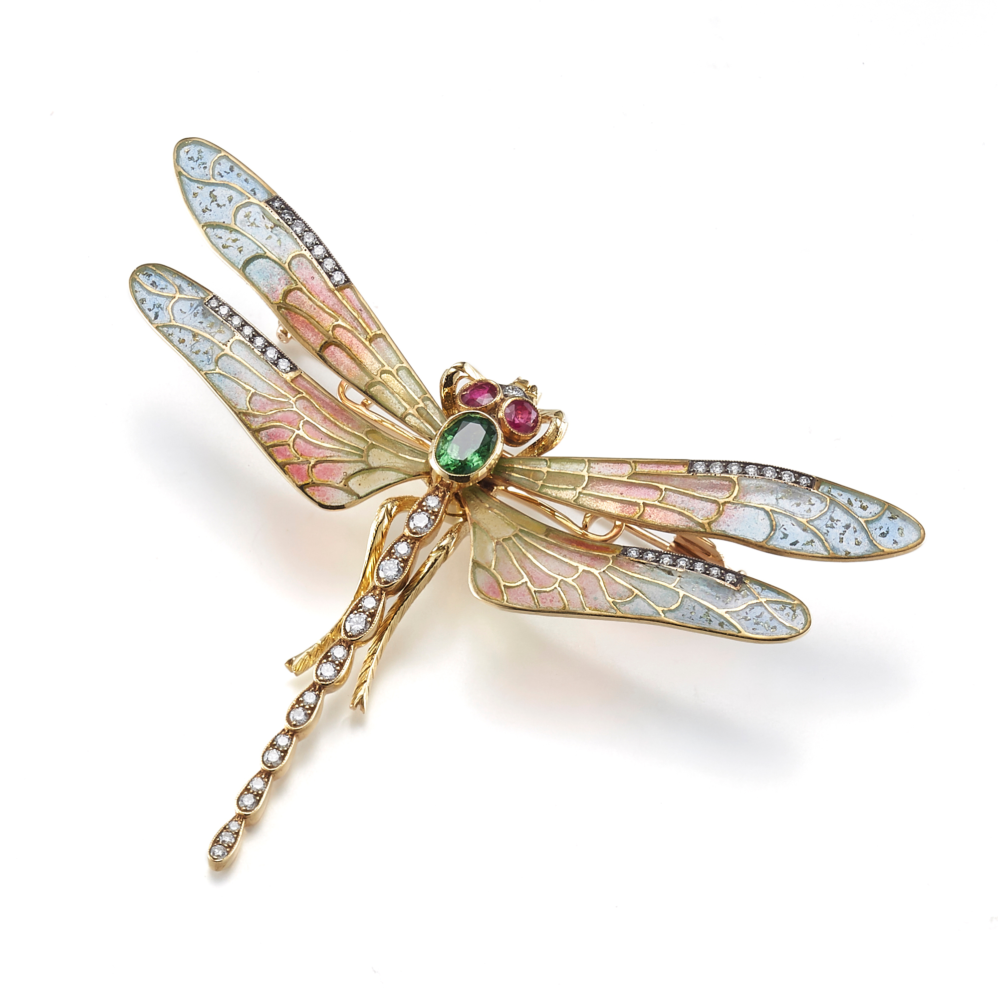 Cicada Plique-a-Jour with Diamonds, Tsavorite & Rubies Dragonfly Brooch