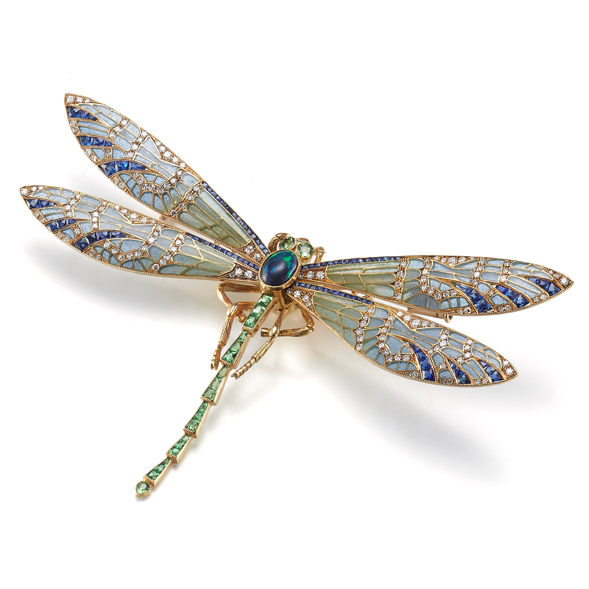 Cicada Plique-a-Jour with Diamonds, Black Opal & Tsavorite Dragonfly Brooch