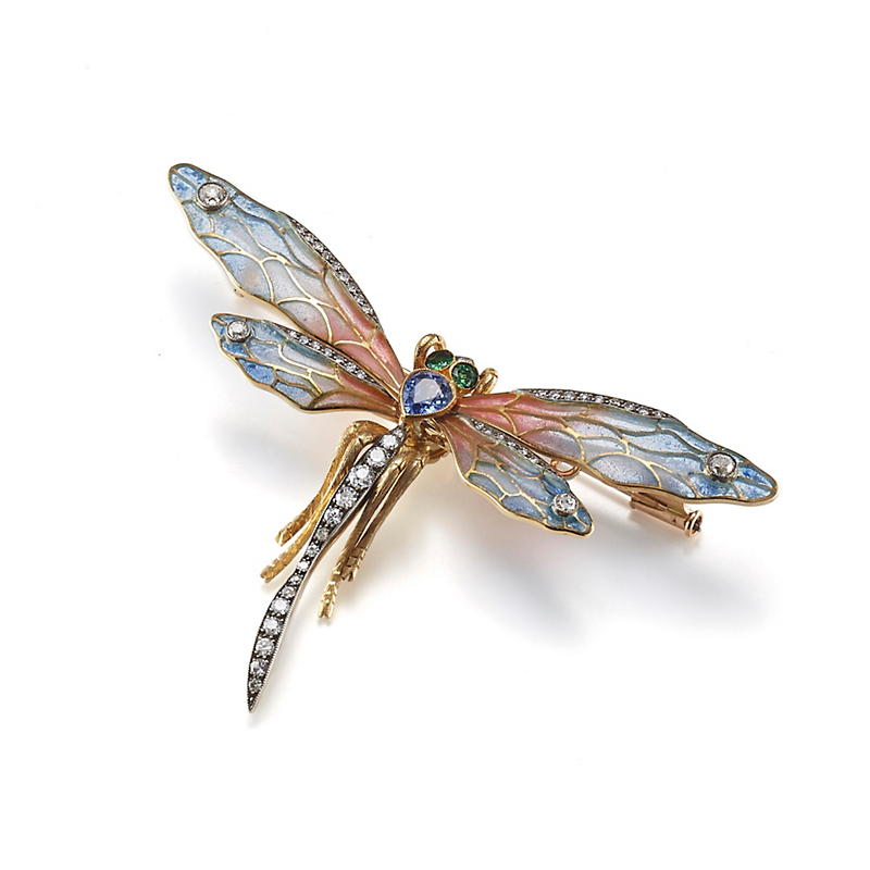 Cicada Plique-a-Jour with Diamonds, Sapphires & Green Tsavorite Dragonfly Brooch