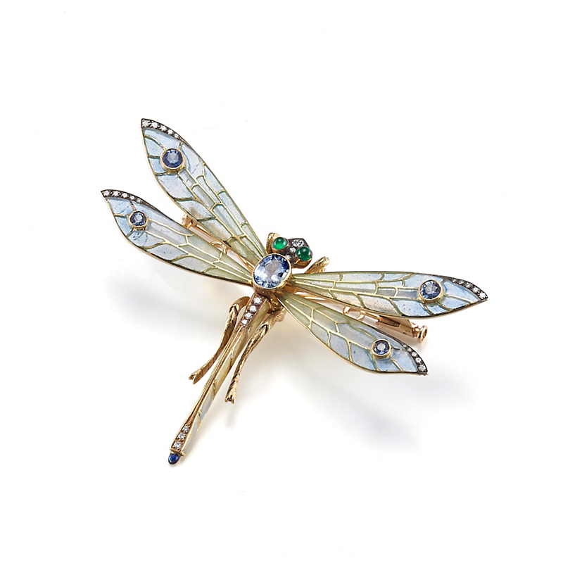 Cicada Plique-a-Jour with Diamonds, Sapphires & Tsavorite Dragonfly Brooch