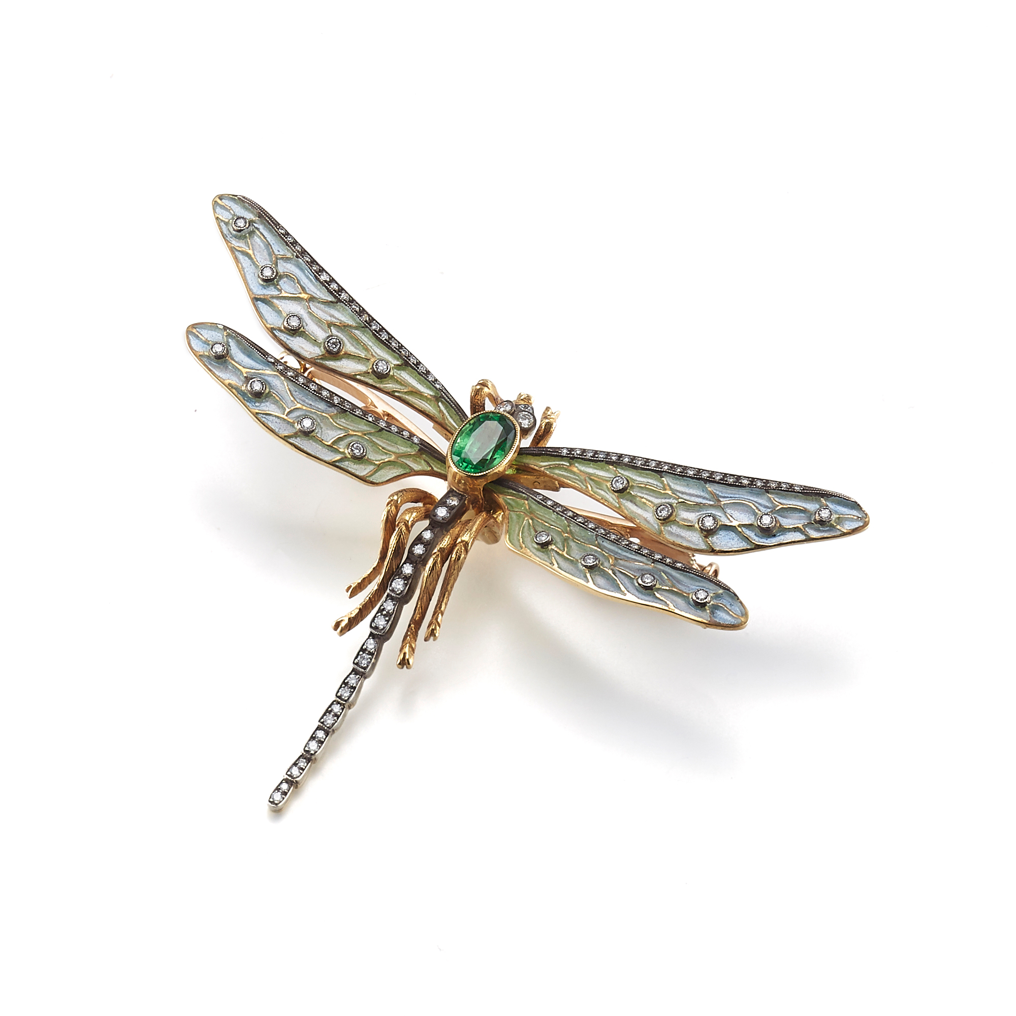 Cicada Plique-a-Jour with Diamonds & Tsavorite Dragonfly Brooch