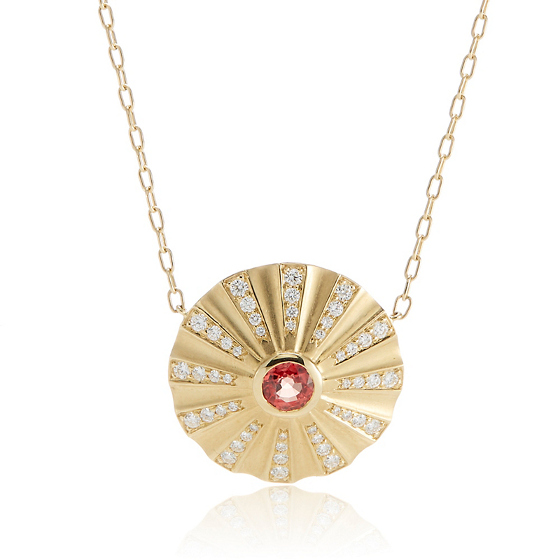 Carelle Orange Sapphire & Diamond Fan Necklace