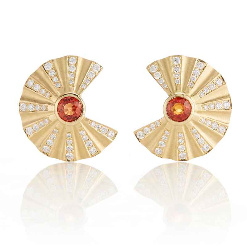Carelle Orange Sapphire & Diamond Open Fan Earrings