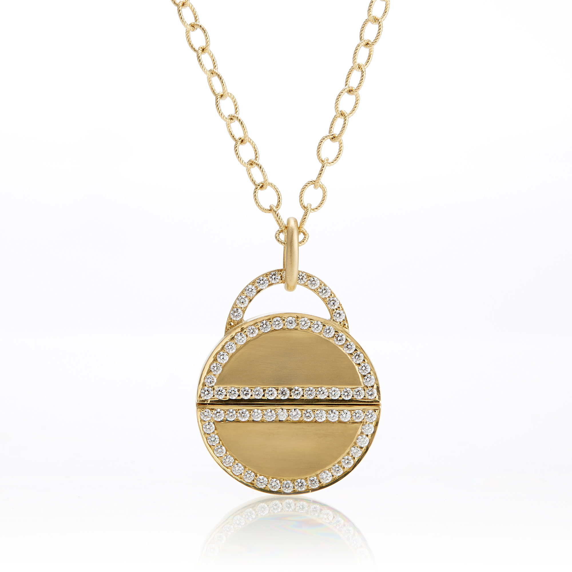 Carelle Diamond Twist Lock Pendant Necklace
