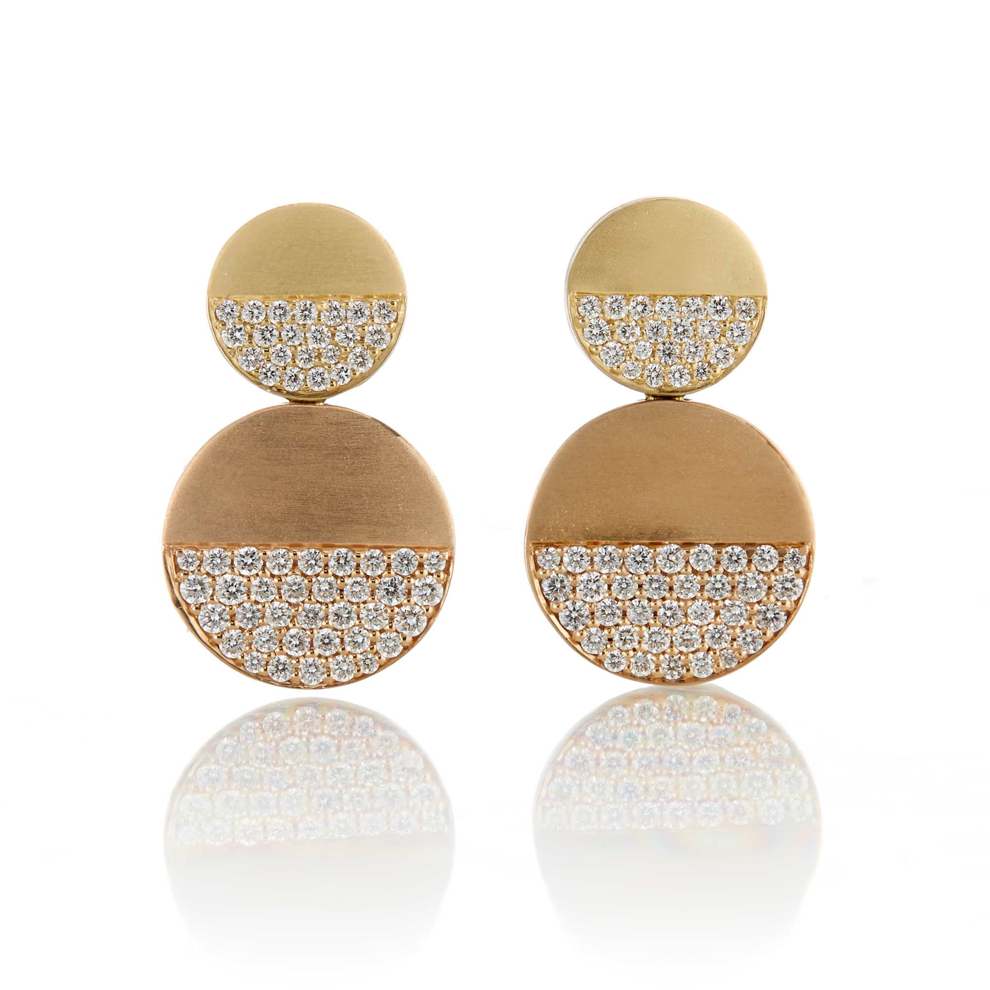 Carelle Diamond Half Pavé Circle Earrings
