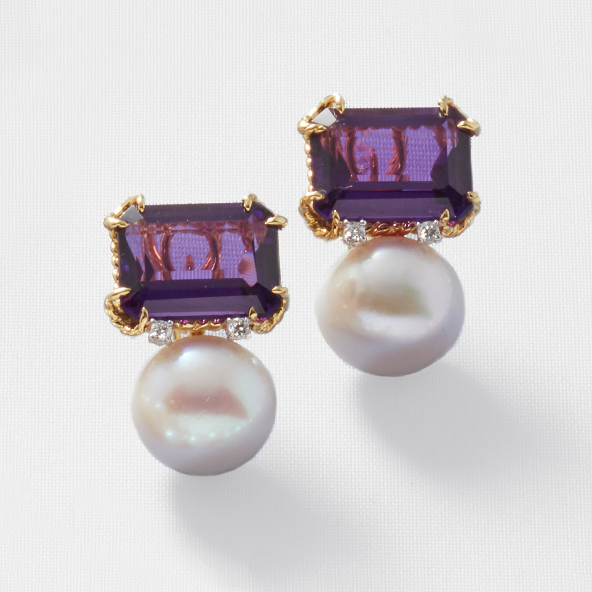 Amethyst & Pearl Duo Twist Duo Earrings