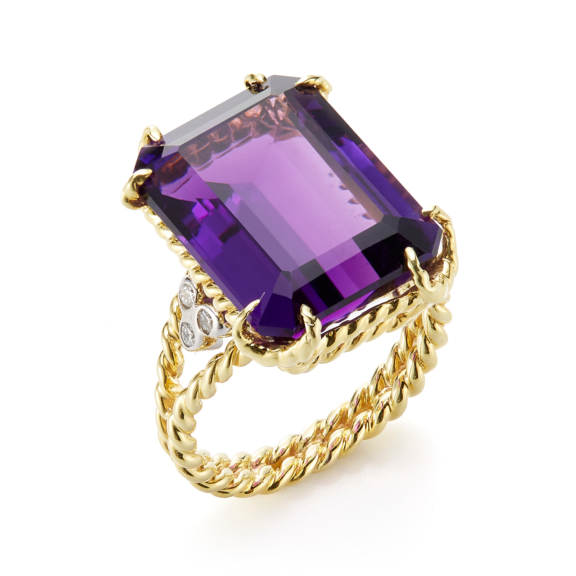 Faceted Amethyst Twist Ring
