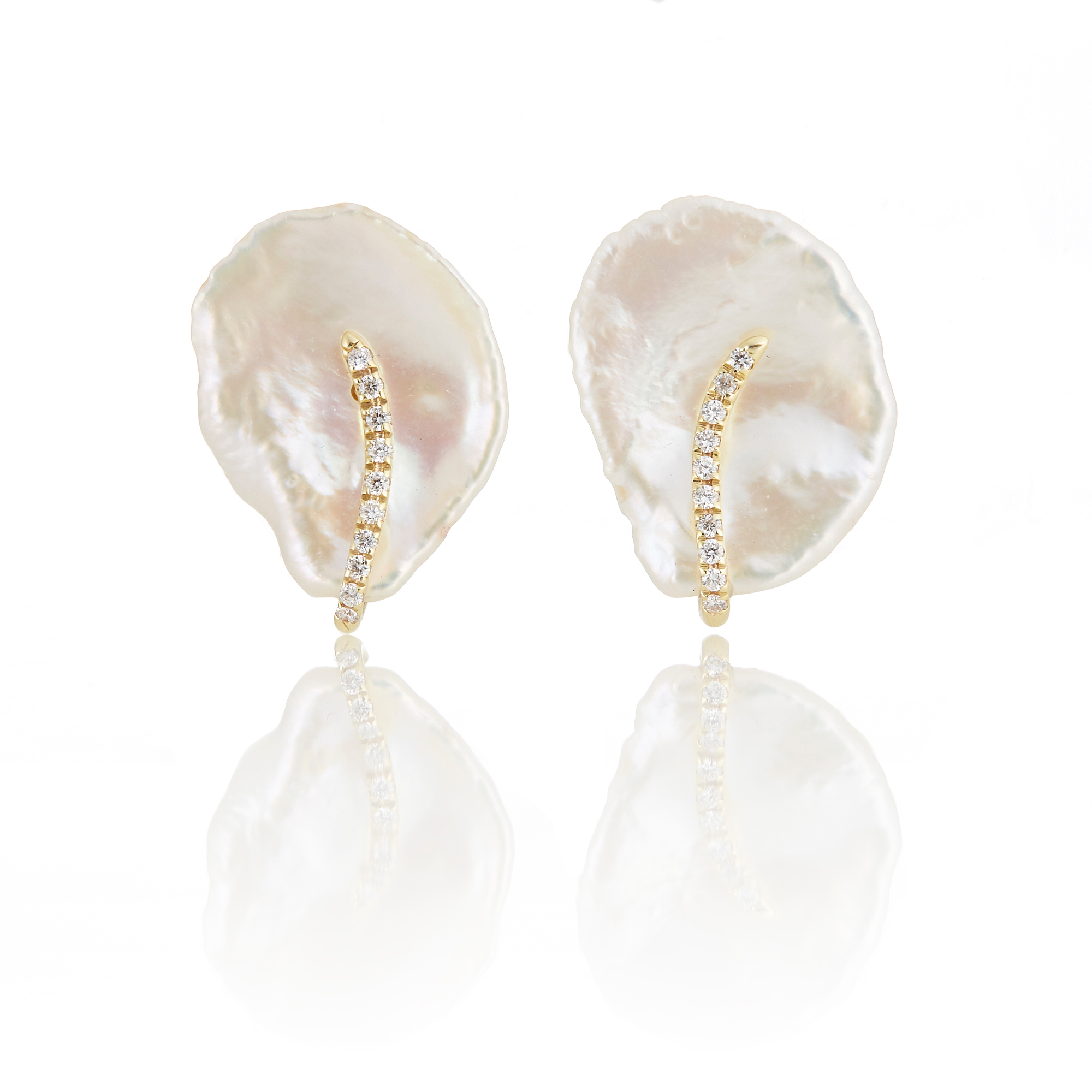 Petal Pearl Diamond Stud Earrings