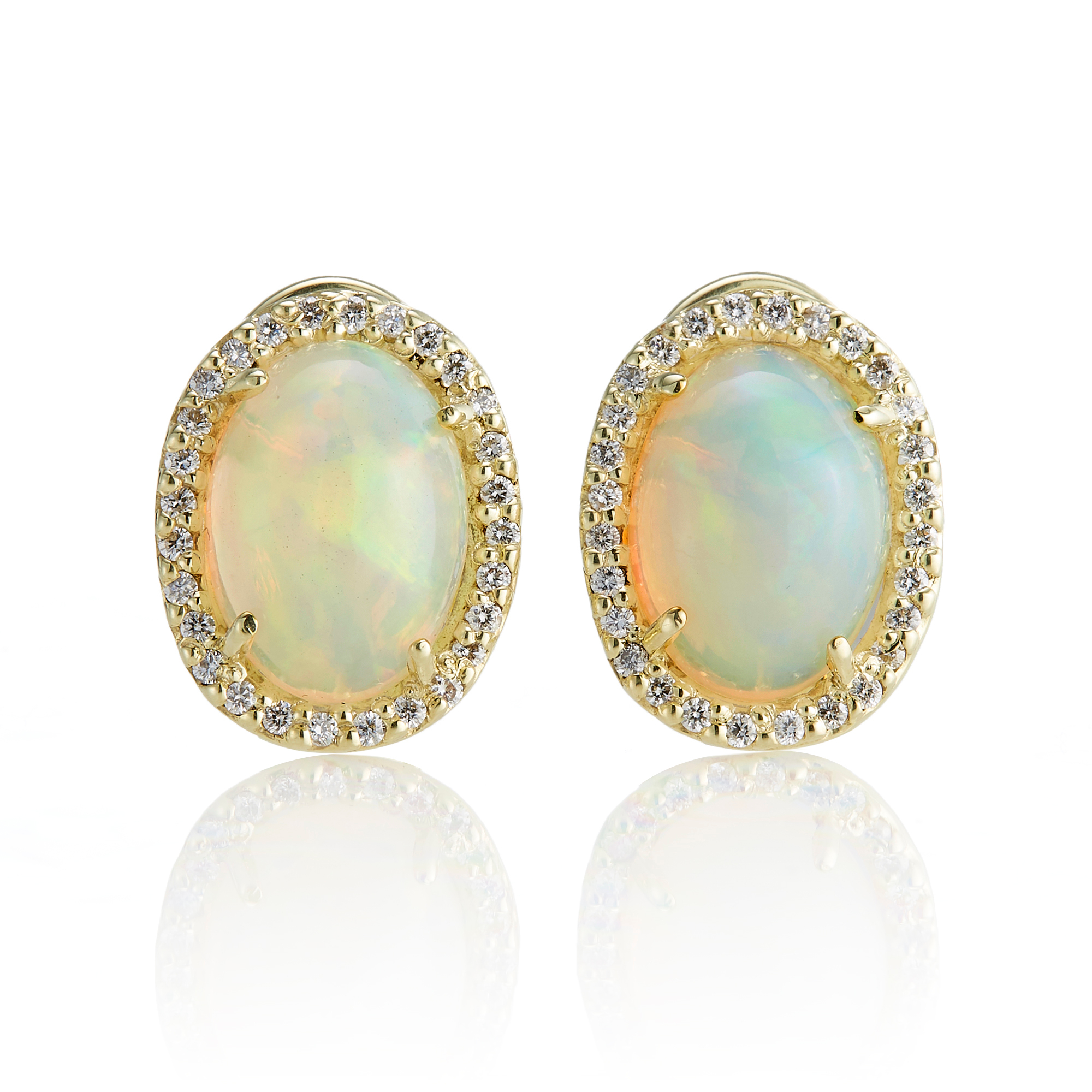 Oval Opal & Diamond Halo Earrings