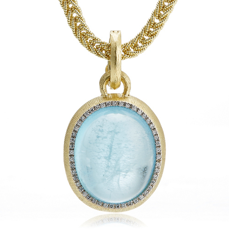 Large Aquamarine Cabochon & Diamond Halo Pendant