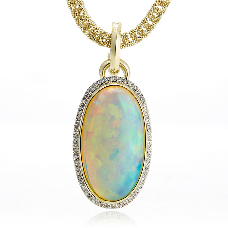 Long Oval Opal Cabochon & Diamond Halo Pendant