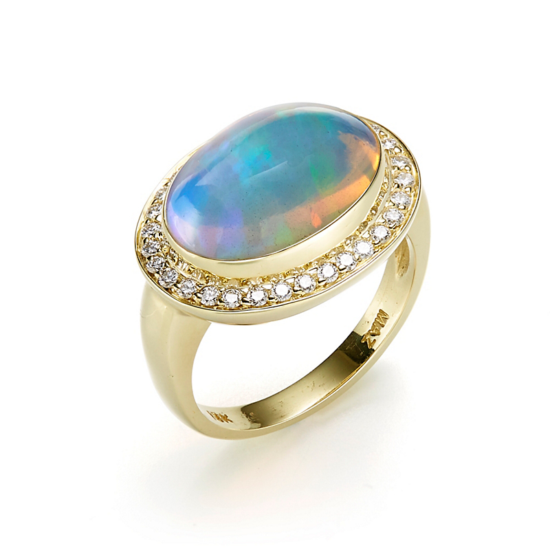 Oval Opal Cabochon & Diamond Halo Ring