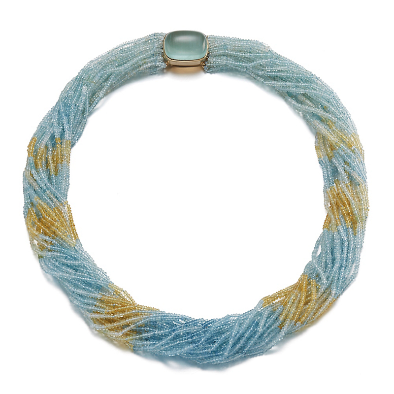 Gump's Twenty Strand Aquamarine & Yellow Beryl Twist with Aqua Clasp Necklace