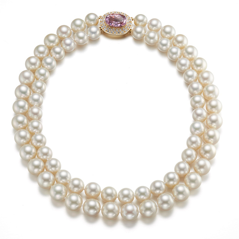 Gump's Nested Double Strand South Sea Pearls with Kunzite & Diamond Clasp Necklace