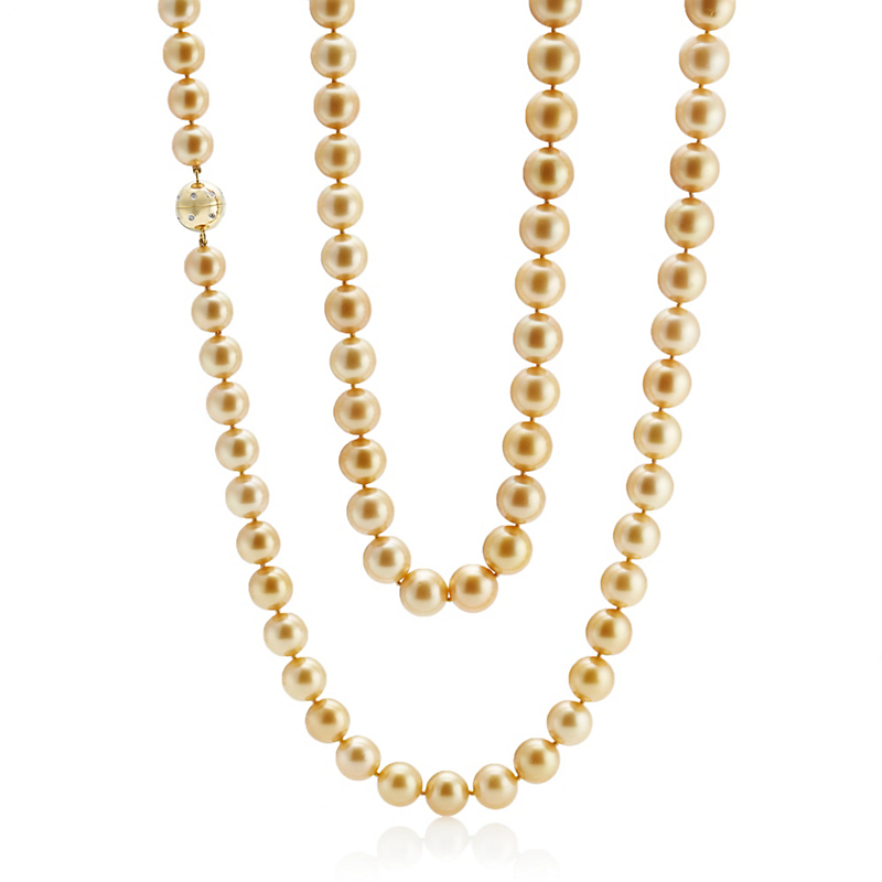 Gump's Graduated Fine Golden South Sea Pearl & Diamond Necklace