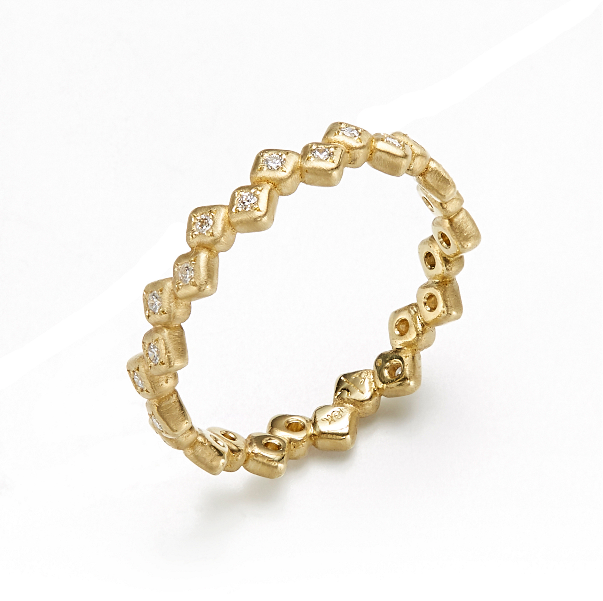 Adel Chefridi Diamond Zig Zag Squares Eternity Band Ring