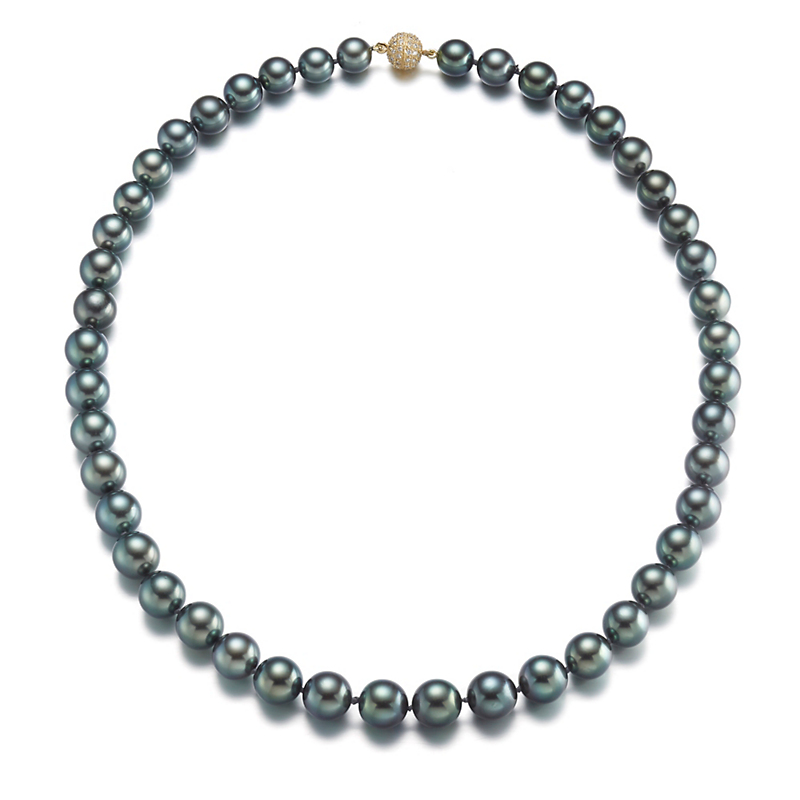 Gump's Blue Green Tahitian Pearl & Diamond Pavé Clasp Necklace