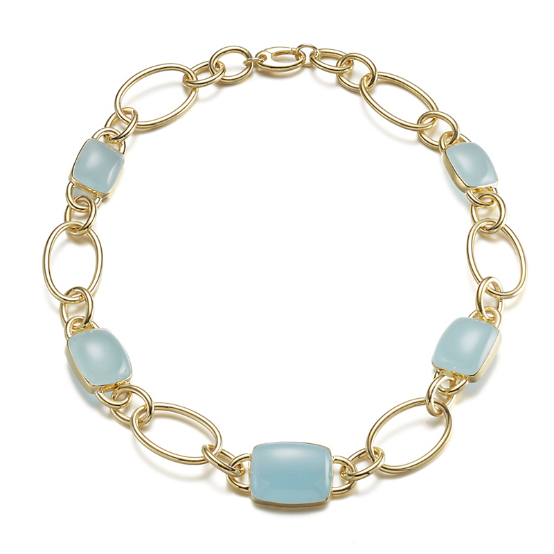 Graduated Aquamarine Link Necklace