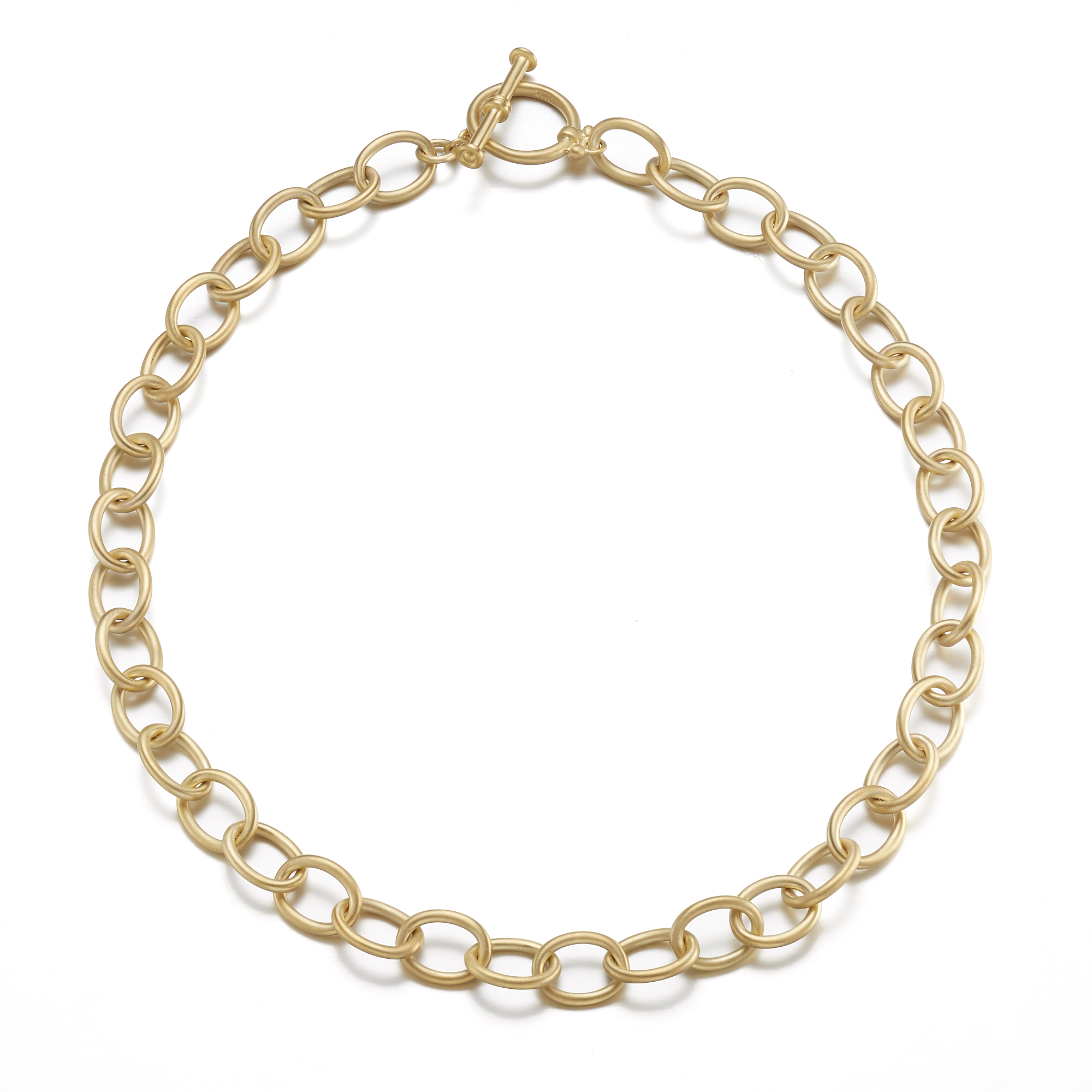 Gold Link Necklace with Toggle Clasp